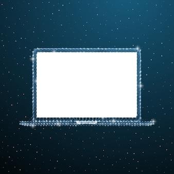 ラップトップを開きます。ワイヤーフレームポータブルコンピューターのモックアップ。