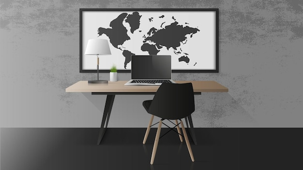 Open a laptop with a black screen. modern laptop on a wooden table. table, table green plants, table lamp, workplace in the loft style. realistic  illustration.