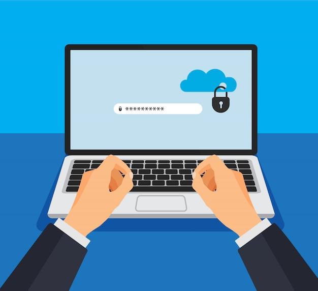 Откройте ноутбук с заблокированным облачным хранилищем на экране. защита файлов. рука вводит пароль. концепция безопасности и конфиденциальности данных на дисплее компьютера. надежная конфиденциальная информация. векторная иллюстрация.