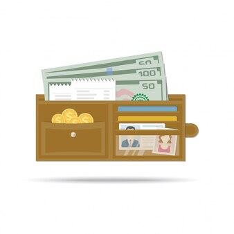 お金、金貨、小切手、クレジットカード、運転免許証、または身元を確認するための書類、写真の女性と一緒に開いた革男性の財布。白い背景の上のフラットなデザインのイラスト。財布