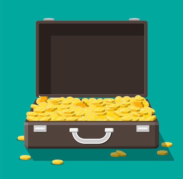 お金がいっぱいのオープンレザースーツケース