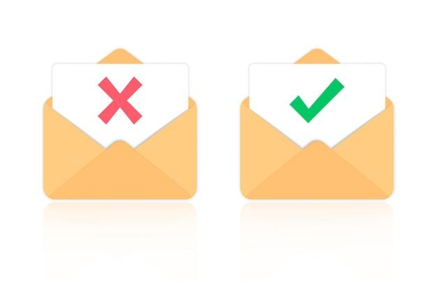 Открытое письмо отклонено и одобрено. открытый конверт и документ с красной меткой и круглой зеленой галочкой