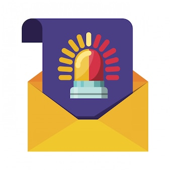 Open letter with message alarm isolated icons