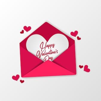 Открытое любовное письмо, сладкий розовый конверт для поздравительной открытки на день святого валентина и вид сверху концепции иллюстрации приглашения с белым фоном