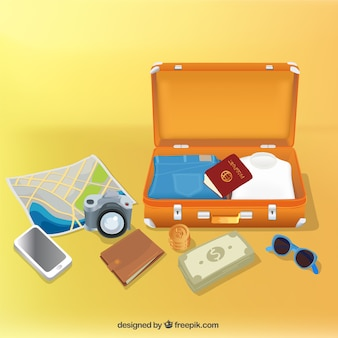 Open luggage with travel elements