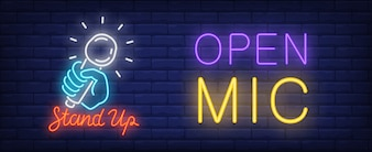 Open mic for stand up neon sign. Bright blue hand holding shining microphone