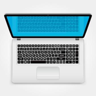 最新のラップトップを開きます。上面図。