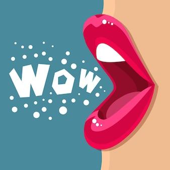 Открытый рот и сообщение wow. плоский дизайн иллюстрации.