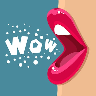 Open mouth and wow message. flat design illustration.