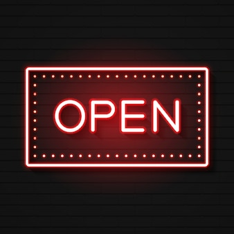 Open neon sign. ready for your design