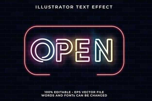 Open neon text effect