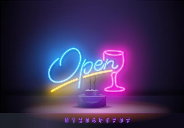 Open neon text vector design template. light banner design element colorful modern design trend, night bright advertising, bright sign. vector illustration