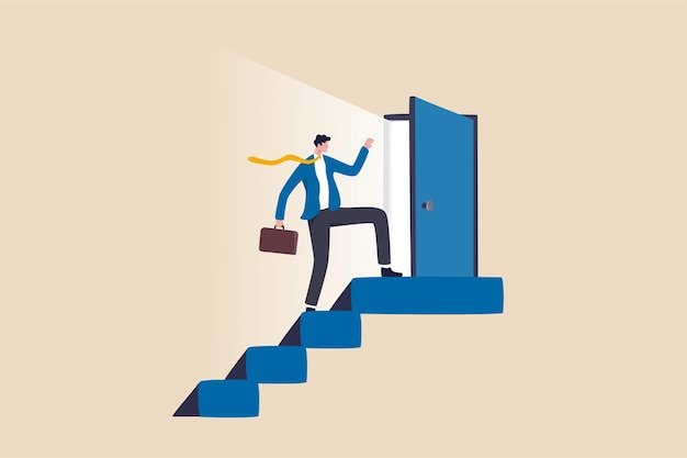Open new opportunity door, career development or business decision for new challenge, success and achievement secret concept, businessman reaching top of stairway open bright light opportunity door.