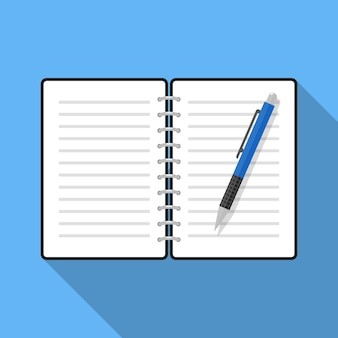 Open notebook and pen flat illustration