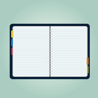 開いているノートブックのベクトル図