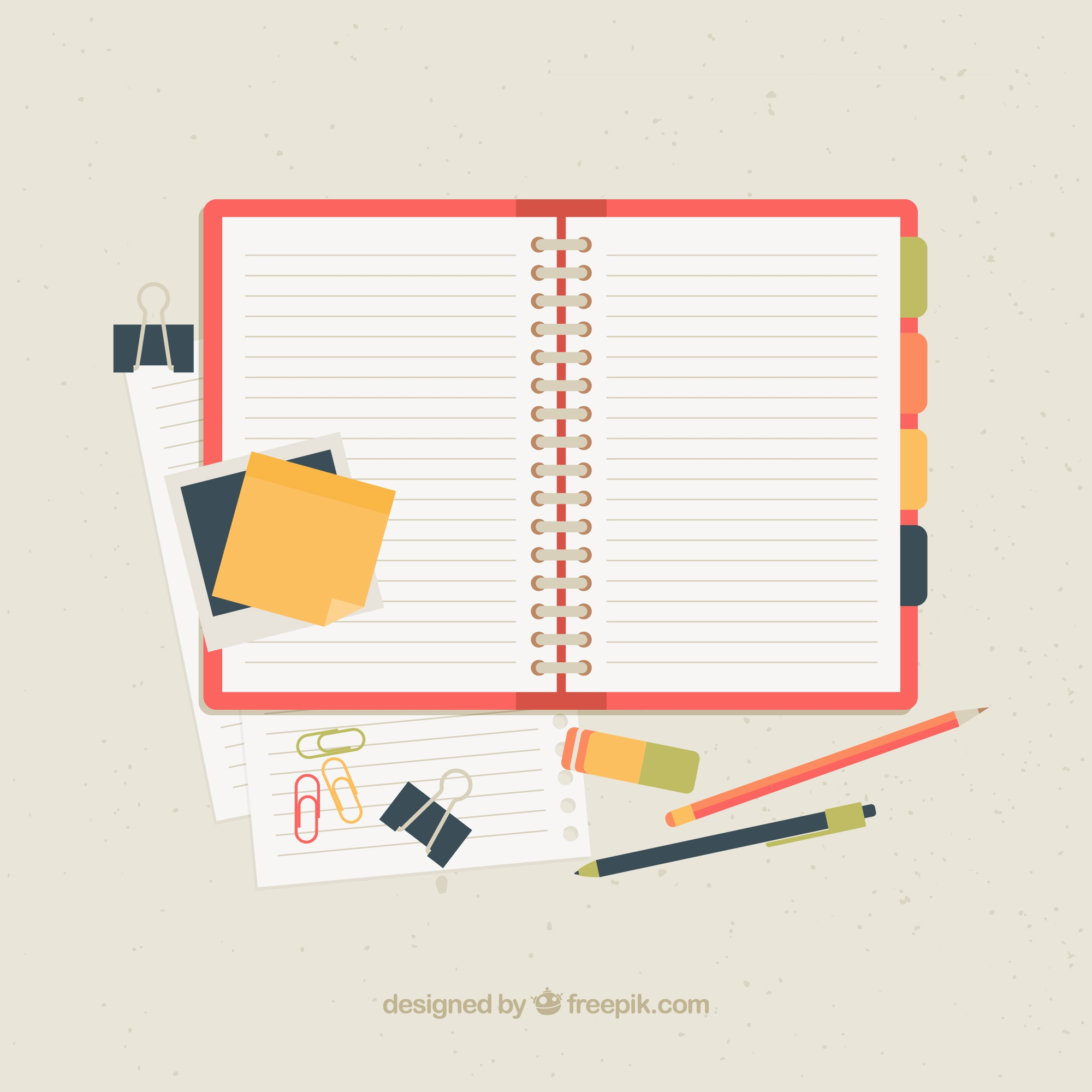 Open notebook with accessories