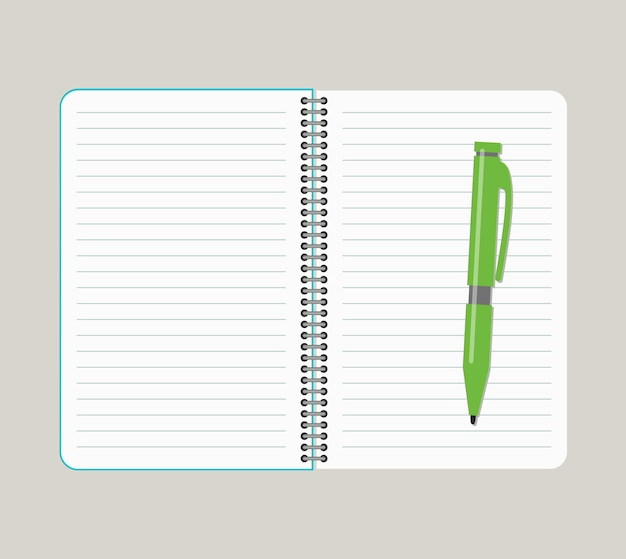 Open notebook with green pen. vector illustration