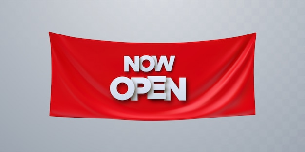 Open now illustration, background, invitation card. template banner, invite for red ribbon cutting ceremony