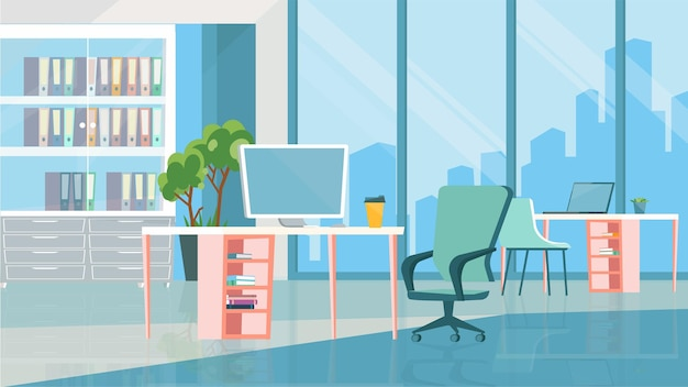 Open office room interior concept in flat cartoon design. workplaces with computers, tables and chairs, bookcase with folders, huge window with city skyline. vector illustration horizontal background