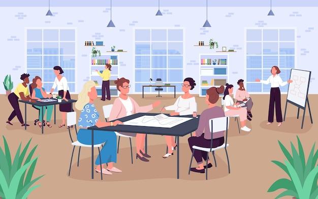オープンオフィススペースフラットカラー。職場。ビジネスの女性。女性は快適な環境で働きます。背景に大きな窓と本棚を持つ2d漫画の顔のないキャラクター