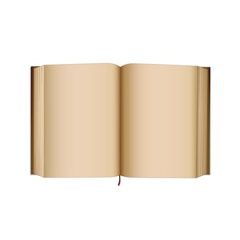 Откройте старую книгу с пустыми пустыми страницами. книга в стиле ретро, журнал или дневник. изолированная графическая иллюстрация.