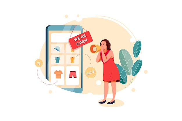 Open an online store illustration concept