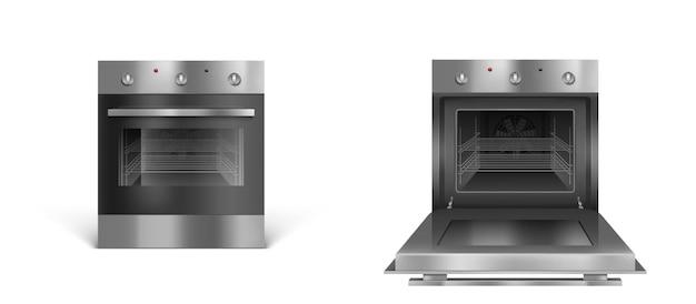 Открытая или закрытая печь серебристого цвета