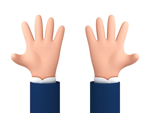 다섯 손가락을 보여주는 뻗은 만화 손을 엽니다. 벡터 만화 인간의 손에 흰색 배경에 고립입니다.