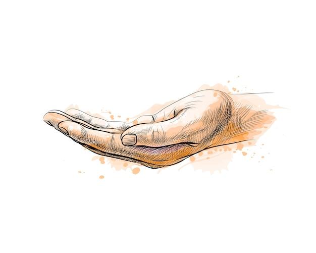 수채화의 스플래시에서 손바닥 손 제스처를 엽니 다, 손으로 그린 된 스케치. 그림 물감