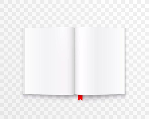 透明な背景に分離されたテキストアートで紙の本を開きます。ベクトルイラスト