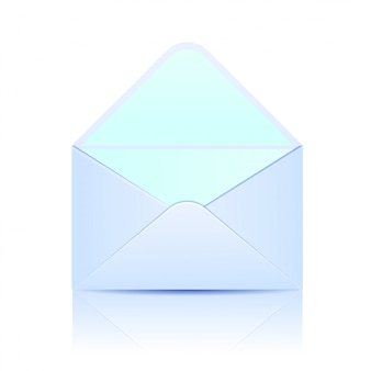 Open paper envelope of blue color on white