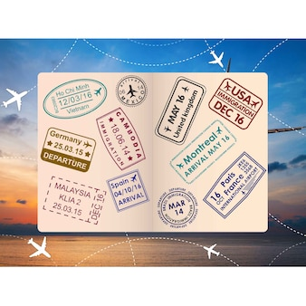 Open passport stamps