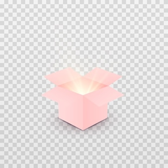 분홍색 선물 상자 또는 선물 열기