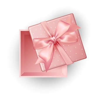 ピンクのギフトボックス上面図の白い背景、イラストを開きます。