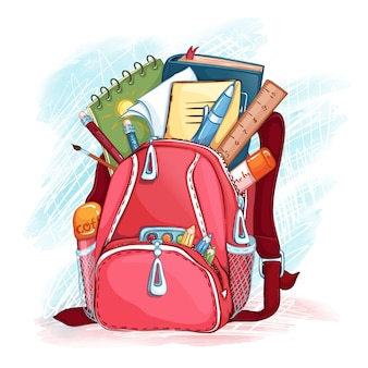 Open pink school bag with school supplies.  back to school.