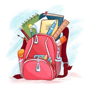 학용품으로 분홍색 학교 가방을 엽니 다. 학교로 돌아가다.