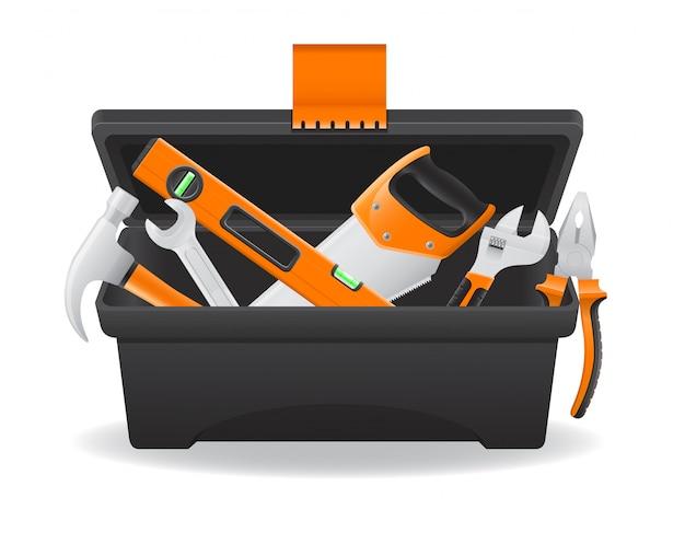 Открытая пластиковая коробка для инструментов векторная иллюстрация