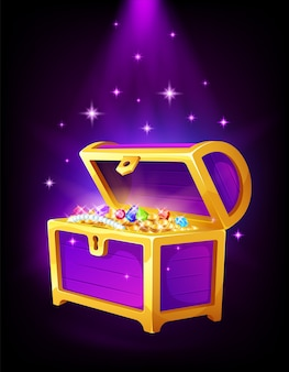 Open purple chest with golden coins and jewelry inside, money, treasure and precious stones