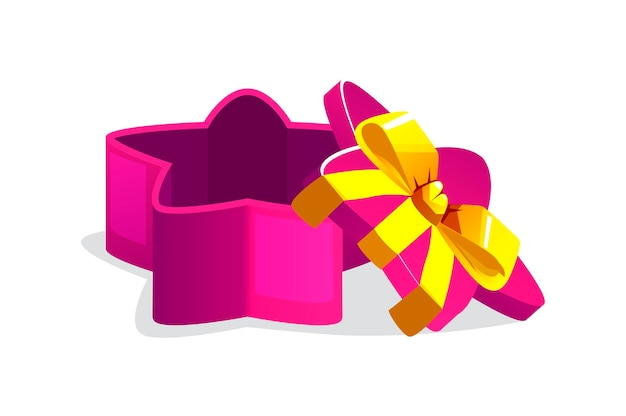 Open purple star shaped gift box for games.