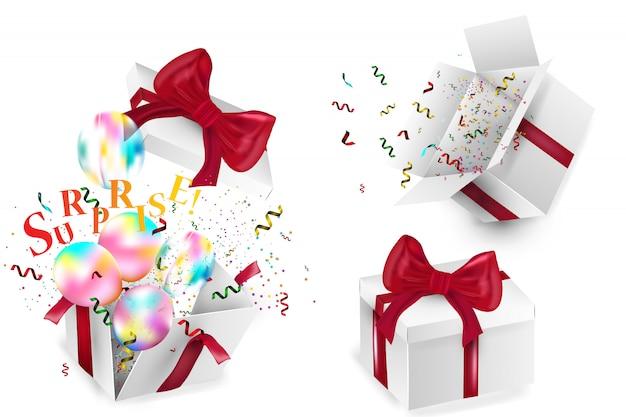 Откройте реалистичные подарочной коробке с красным бантом, воздушными шарами и разноцветными конфетти, на белом фоне с тенью. иллюстрации.