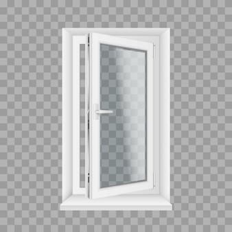 창턱과 손잡이가 있는 현실적인 유리 투명 플라스틱 창 열기