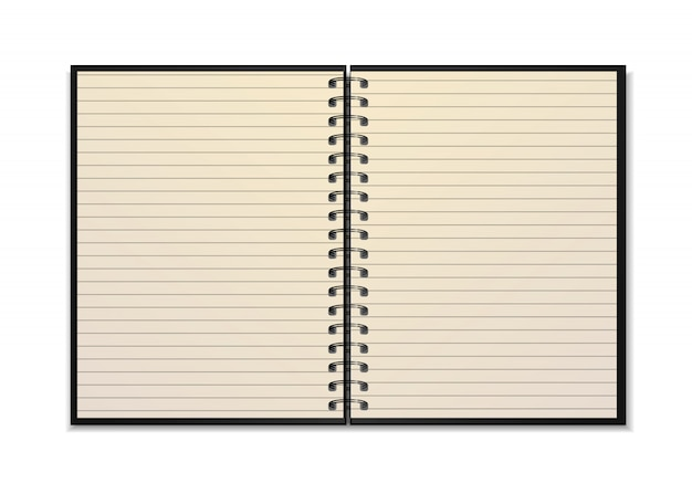 Open realistic spiral notebook   with yellow line sheets isolated