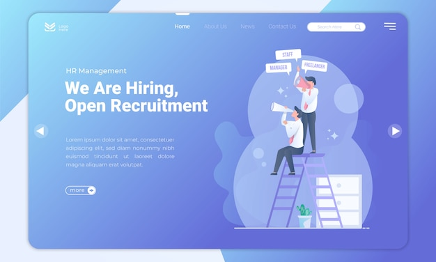 Open recruitment landing page template