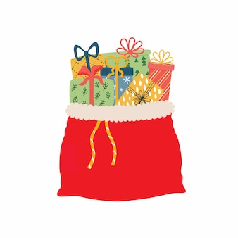 Open red bag full of christmas presents illustration