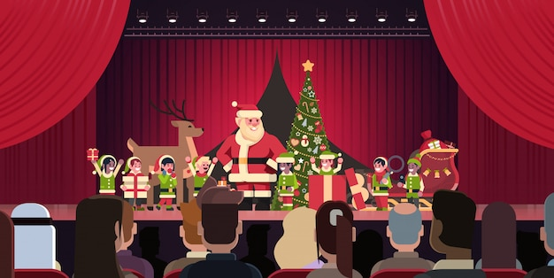 Open red curtain santa claus and elves theater show merry christmas happy new year holiday concept horizontal flat