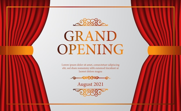 Open red curtain stage theater luxury elegant grand opening with golden confetti poster