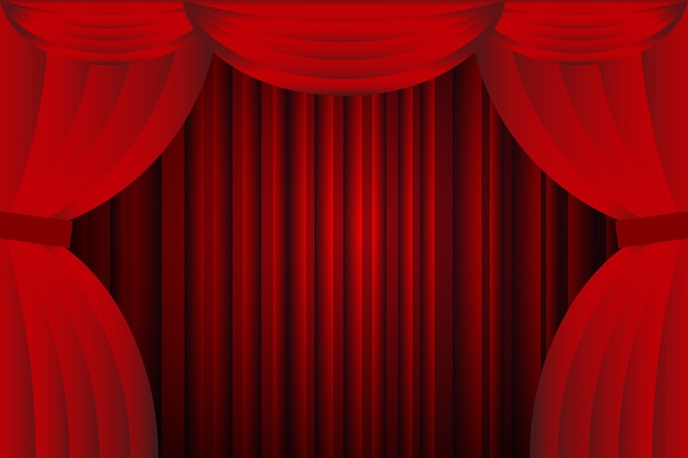 Open red curtains with opera or theater background
