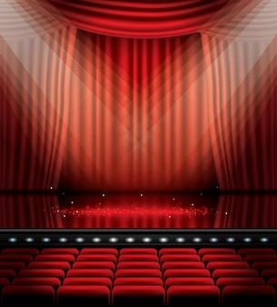 座席とコピースペースのある赤いカーテンを開きます。ベクトルイラスト。劇場、オペラ、映画のシーン。床に光を当てる。