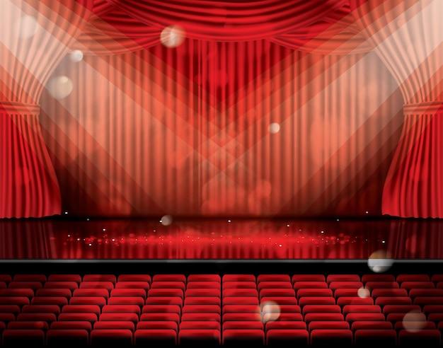 座席とコピースペースのある赤いカーテンを開きます。