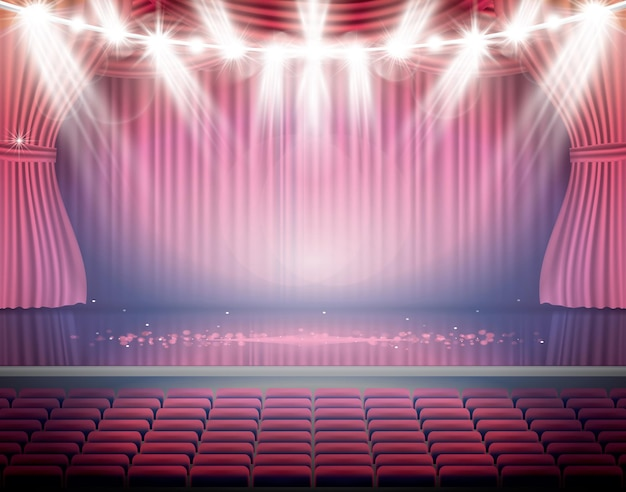 Open red curtains with seats and neon spotlights. theater, opera or cinema scene. light on a floor.
